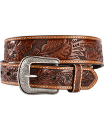 3D Antique Floral Tooled Belt, , hi-res