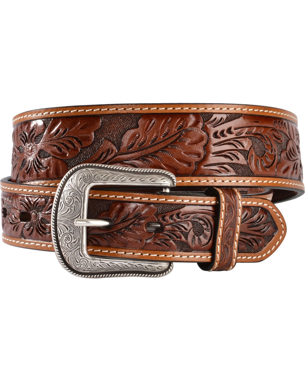 3D Antique Floral Tooled Belt, Brown, hi-res
