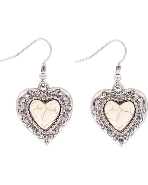 Shyanne® Women's Heart Bone Earrings, Silver, hi-res