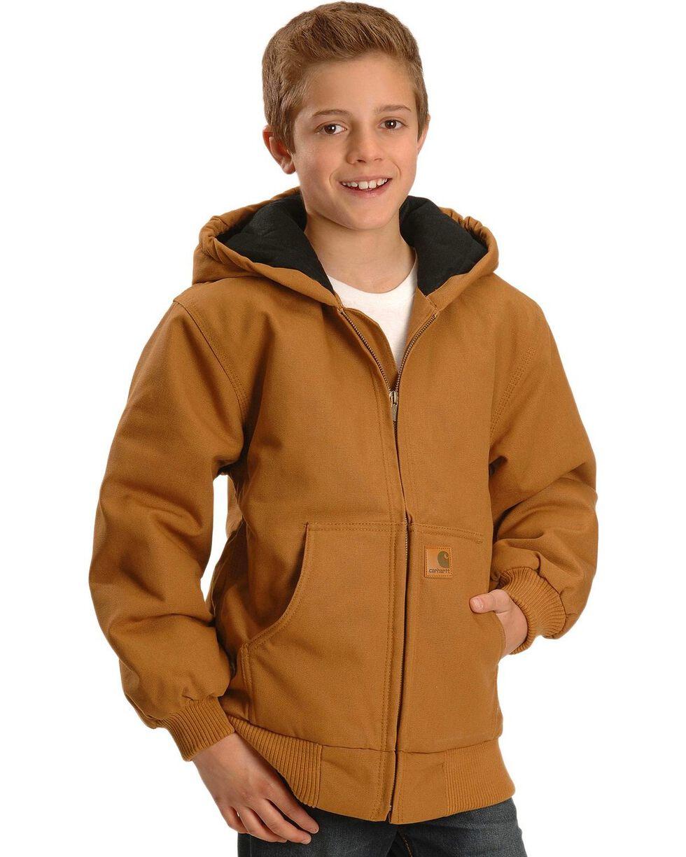 Carhartt Boy's Duck Active Jacket, Brown, hi-res