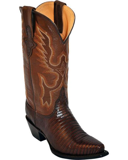 Ferrini Women's Teju Lizard Exotic Western Boots, Chocolate, hi-res