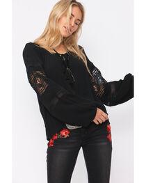 Shyanne Women's Black Peasant Crochet Inset Long Sleeve Shirt , , hi-res
