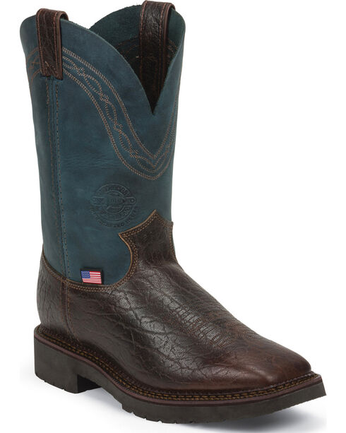 Justin Men's Piperfitter Steel Toe Western Work Boots, Dark Brown, hi-res