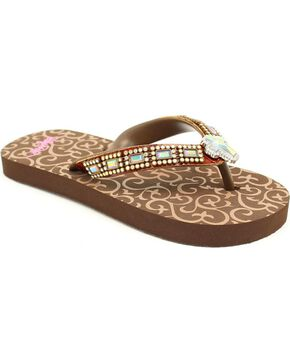 Blazin Roxx Girls' Brown Journi Flip Flops, Brown, hi-res