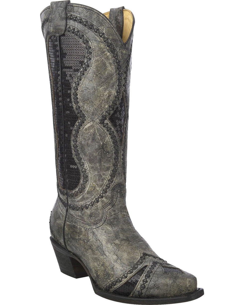 Corral Women's Diamond Inlay Western Boots, Black, hi-res