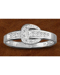 Kelly Herd Sterling Silver Rhinestone Buckle Ring, , hi-res