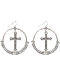 Shyanne® Women's Rhinestone Cross and Hoop Earrings, , hi-res