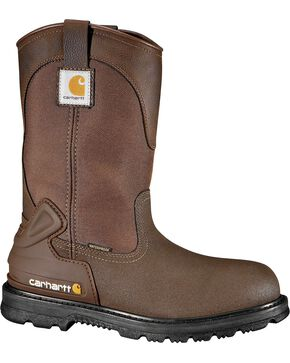 "Carhartt 11"" Bison Waterproof Mud Wellington Work Boots - Safety Toe, Brown, hi-res"
