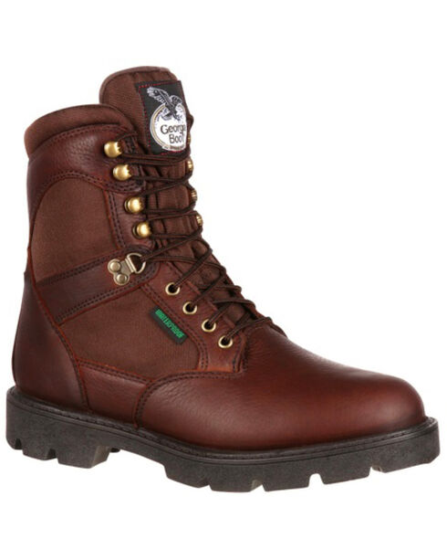 Georgia Men's Homeland Steel Toe Waterproof Work Boots, Brown, hi-res
