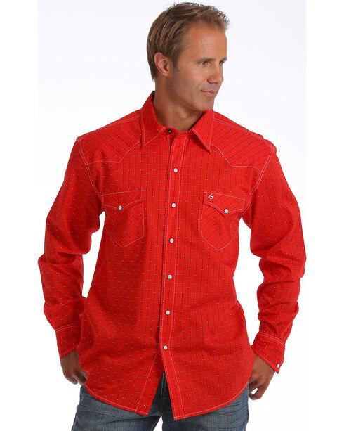 Cinch Men's Garth Brooks  Striped Long Sleeve Shirt , Red, hi-res
