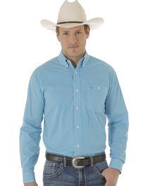 Wrangler Men's Turquoise Poplin Print 20X Western Shirt , , hi-res