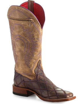 Macie Bean Youth Girls' Call Me Maybe Zipper Pocket Cowgirl Boots - Square Toe, Brown, hi-res