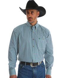 Wrangler Men's Blue George Strait One Pocket Plaid Shirt , , hi-res