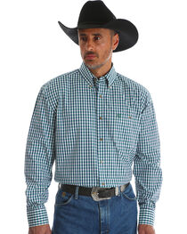 Wrangler Men's Blue George Strait One Pocket Plaid Shirt - Big & Tall , , hi-res