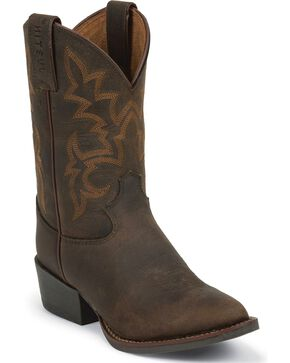 Justin Kid's Buffalo Western Boots, Brown, hi-res