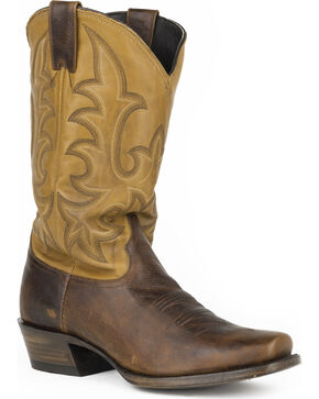 Stetson Men's Brown Fuccini Floppy Top Western Boots - Square Toe , Brown, hi-res