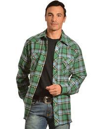 Wrangler Men's Green Plaid Flannel Shirt, , hi-res