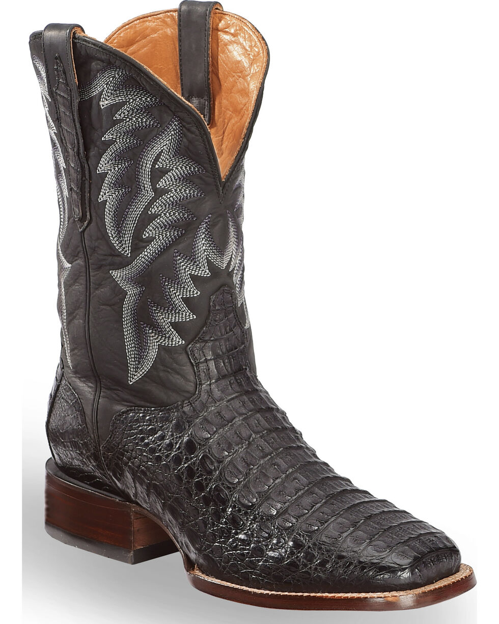 El Dorado Men's Handmade Caiman Black Stockman Boots - Square Toe , Black, hi-res
