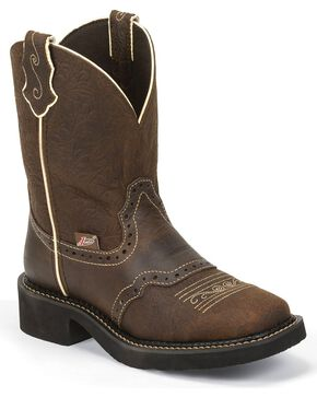 Justin Women's Embossed Gypsy Western Boots, Brown, hi-res