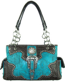 Savana Women's Turquoise Concealed Carry with Tooled Design Handbag, , hi-res