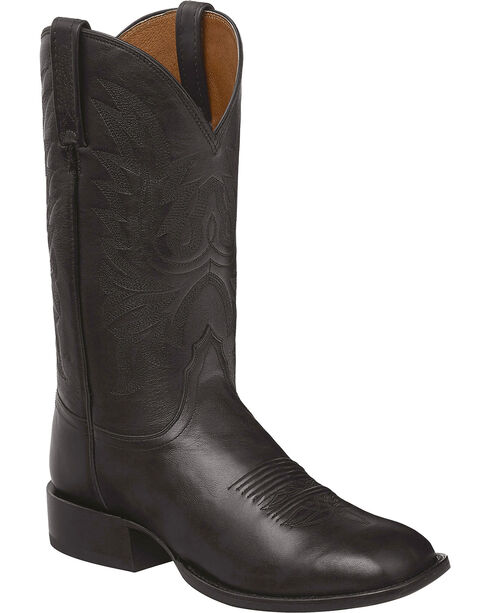 Lucchese Black Jason Lone Star Calf Cowboy Boots - Square Toe , Black, hi-res