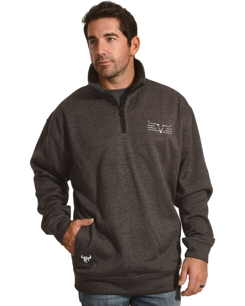 Cowboy Hardware Men's Steer Barb Cadet 1/4 Zip Pullover, Charcoal, hi-res