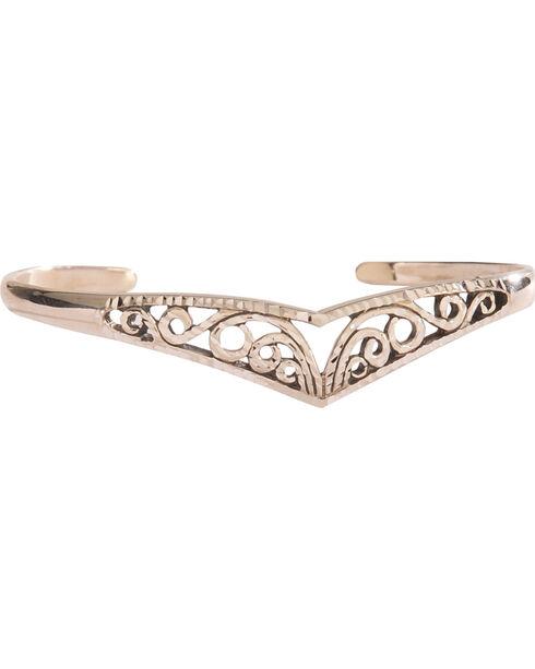 Silver Legends Women's Filigree V-Shaped Diamond Cut Bracelet , Silver, hi-res