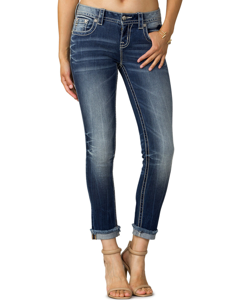 Miss Me Women's Indigo Narrow Escape Ankle Jeans - Extended Sizes, , hi-res