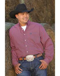 Cinch Men's Red Plain Weave Print Long Sleeve Button Down Shirt, , hi-res