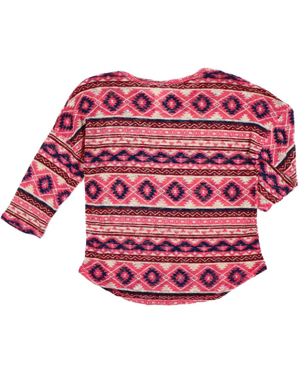 Shyanne Girl's Sheer Knot Aztec Print Long Sleeve Shirt, , hi-res