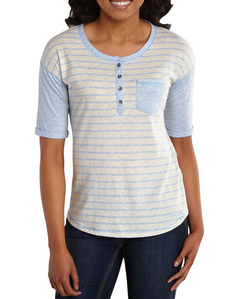 Carhartt Women's Reagan Short Sleeve Henley, Blue, hi-res