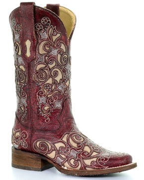 Corral Women's Inlay and Stud Western Boots, Red, hi-res