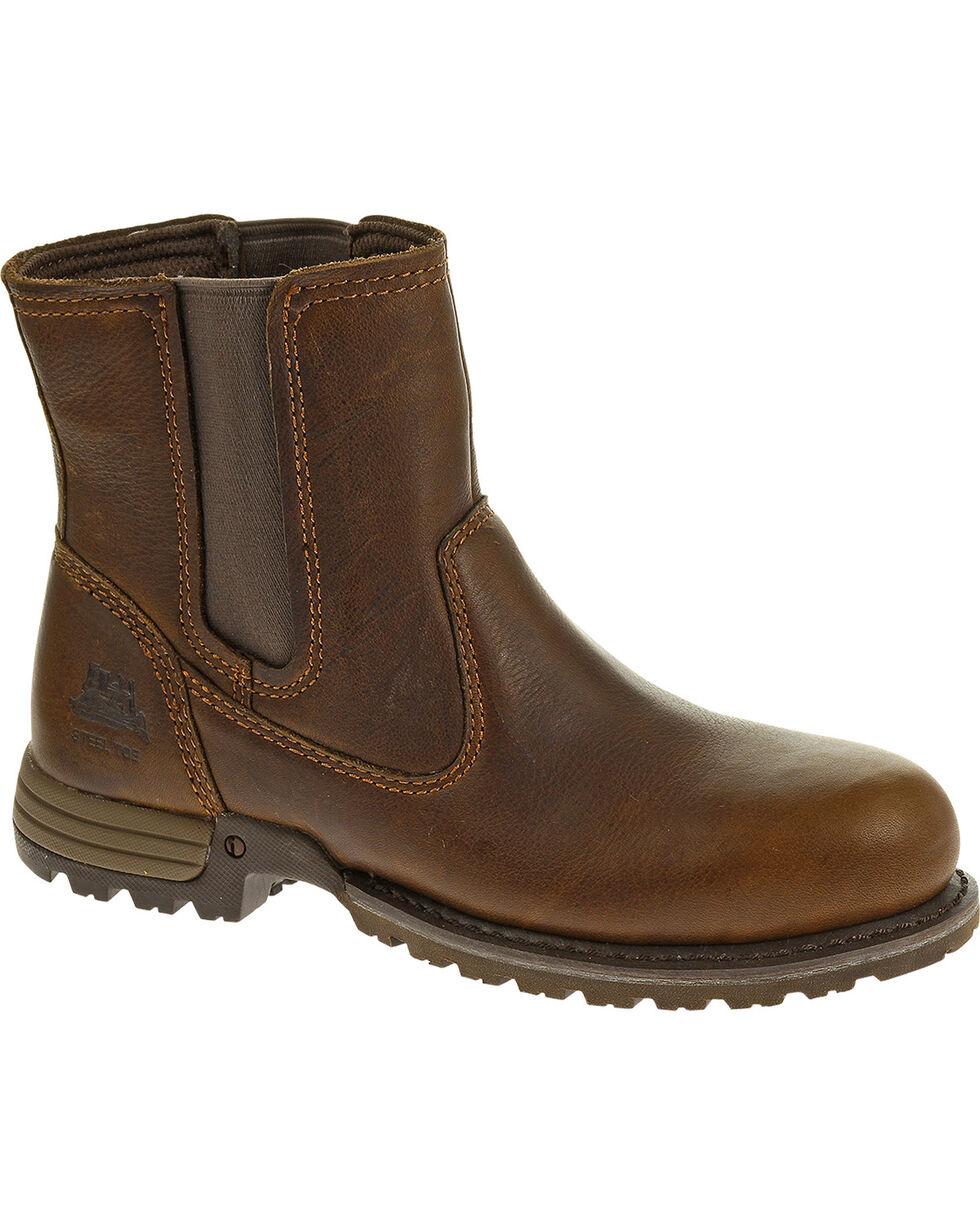 CAT Women's Freedom Pull-On Steel Toe Work Boots, Oak, hi-res