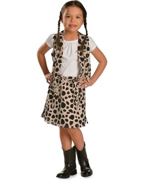 Girls' Cowprint Cowgirl Vest & Skirt Set, Black, hi-res
