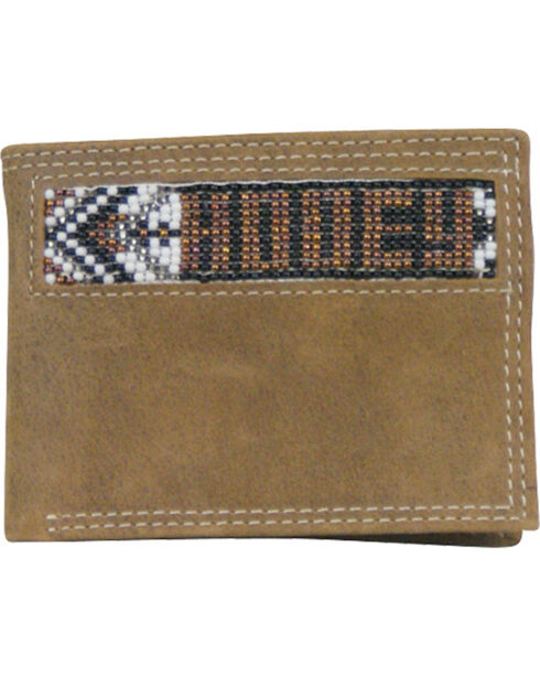 Hooey Men's Tan Signature Beaded Bi-Fold Rodeo Wallet , Tan, hi-res