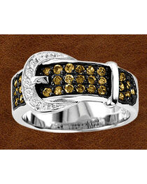 Kelly Herd Sterling Silver Chocolate Rhinestone Buckle Ring, , hi-res