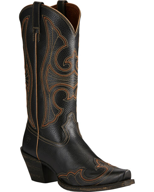 Ariat Women's Round Up D Toe Wingtip Western Boots, Black, hi-res