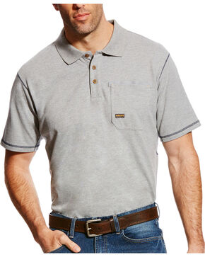 Ariat Men's Rebar Polo, Grey, hi-res