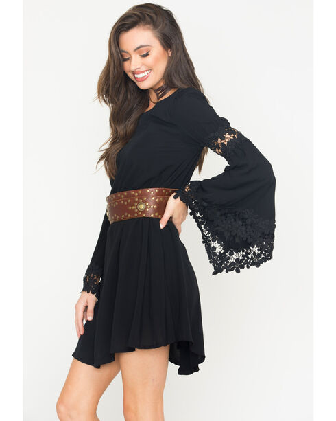 Blush Noir Women's Black Flared Sleeve Dress , Black, hi-res