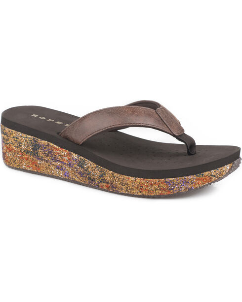 Roper Women's Brown Paint Splash Casual Sandals , Brown, hi-res