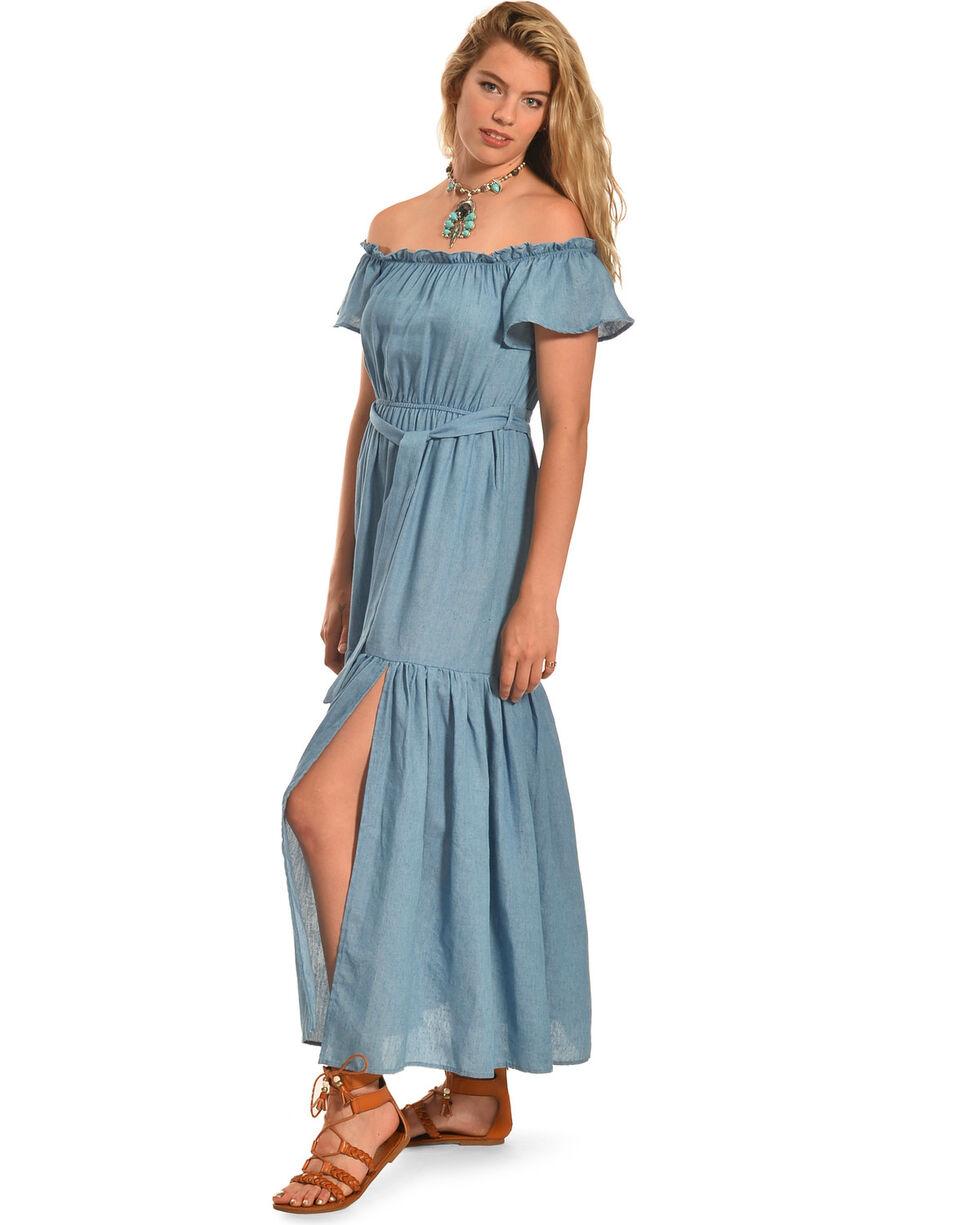 Polagram Women's Off The Shoulder Denim Ruffle Dress , , hi-res