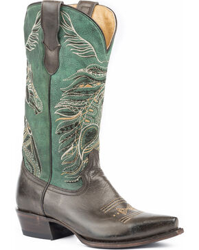 Roper Women's Art Of The Horse Cowgirl Boots - Snip Toe , Brown, hi-res