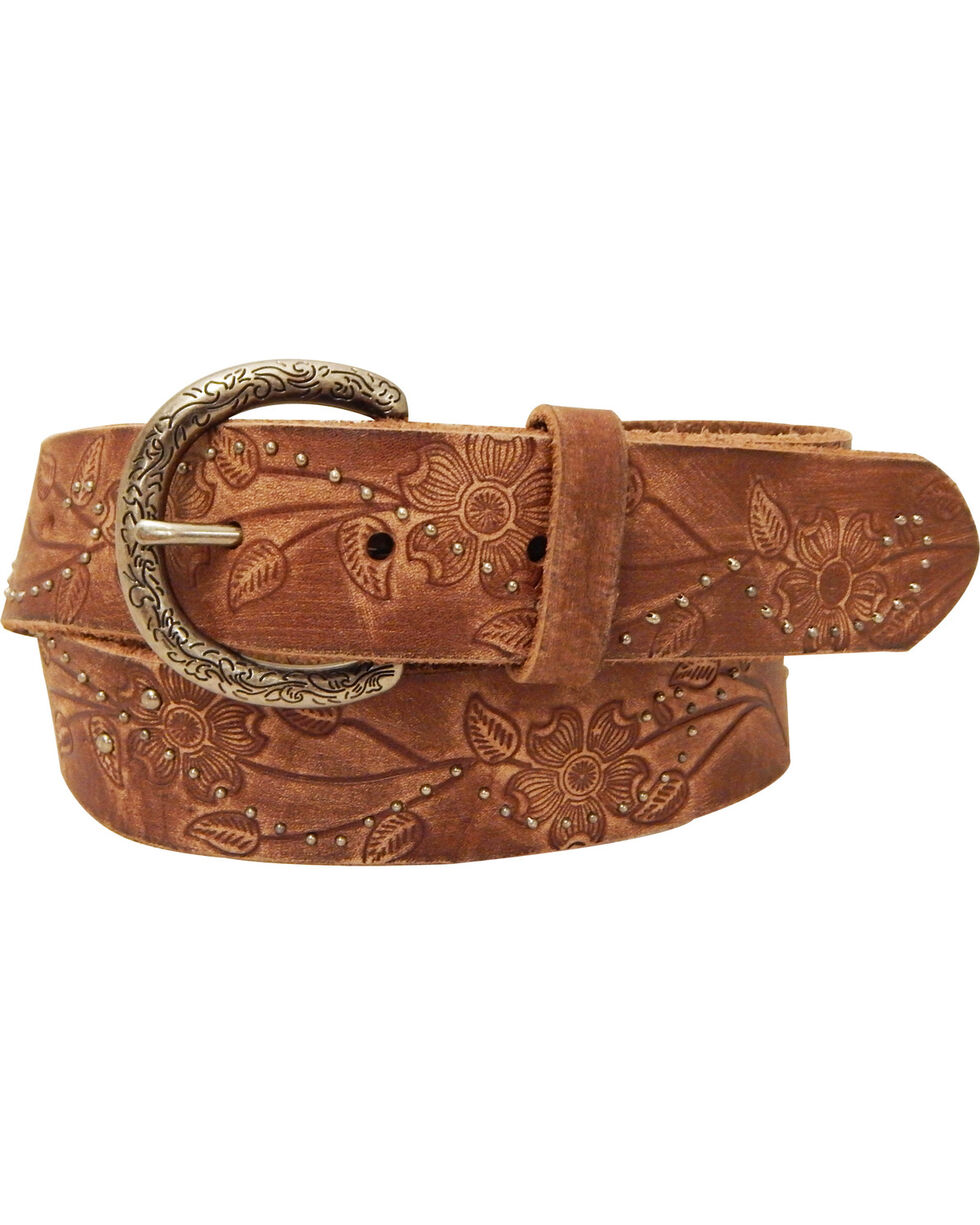 Roper Women's Brown Floral Design Leather Belt, Brown, hi-res