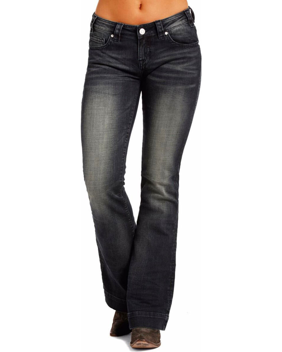 Rock & Roll Cowgirl Women's Low-Rise Trouser Jeans - Boot Cut , Dark Blue, hi-res