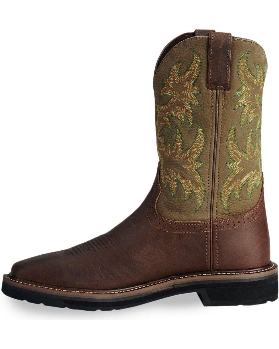 """Justin Men's Stampede 11"""" Steel Toe Western Work Boots, Waxed Brn, hi-res"""