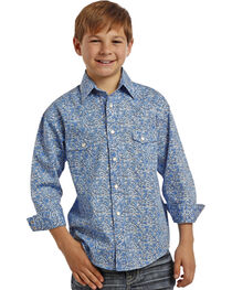 Rock & Roll Cowboy Boys' Scroll Patterned Long Sleeve Shirt, , hi-res