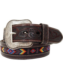 Roper Men's Hand-Tooled Beaded Silver Buckle Belt , , hi-res