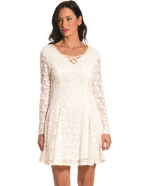 Jody of California Women's Criss Cross Neck White Lace Dress, , hi-res