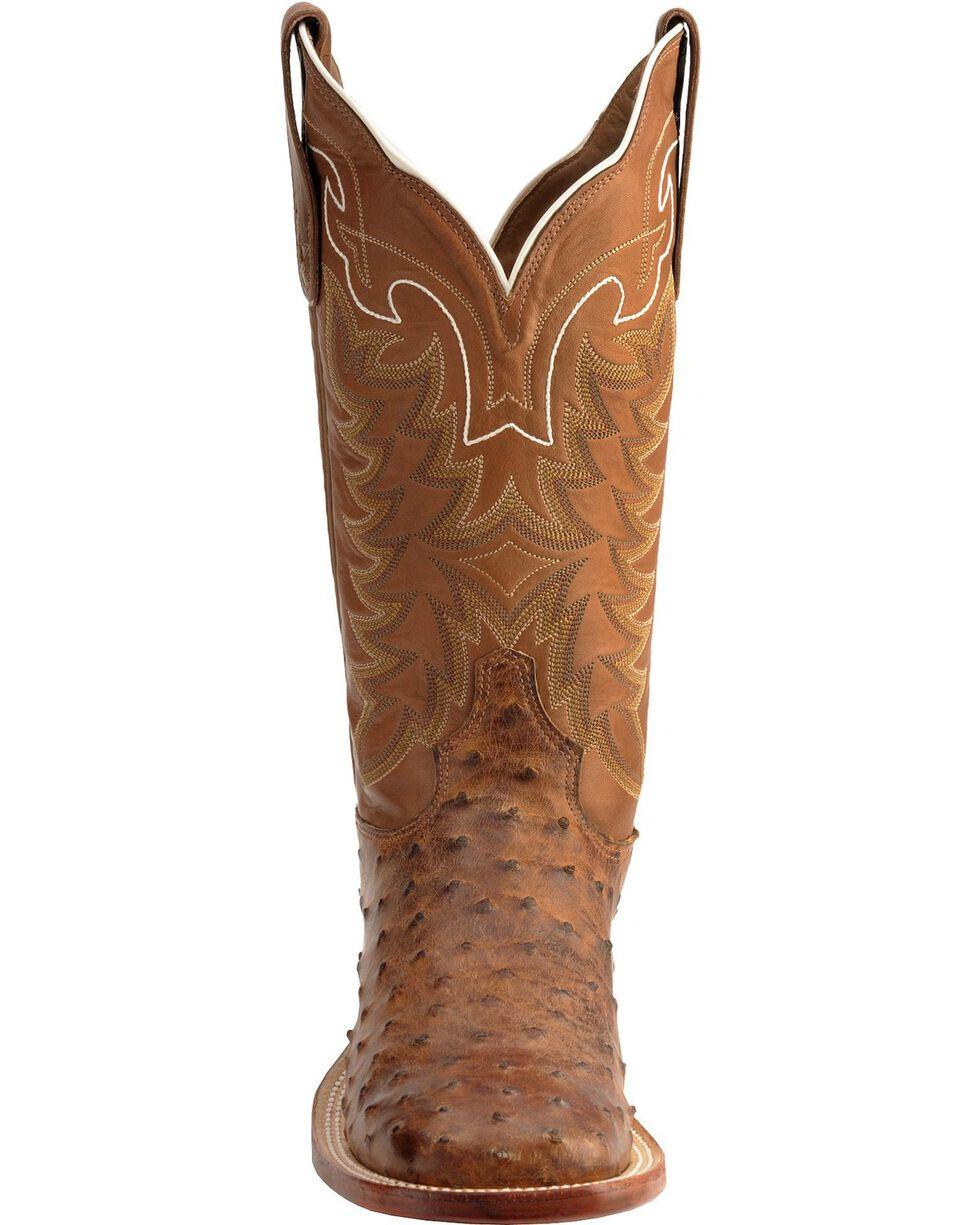 Tony Lama Men's San Saba Full Quill Ostrich Exotic Boots, Chocolate, hi-res