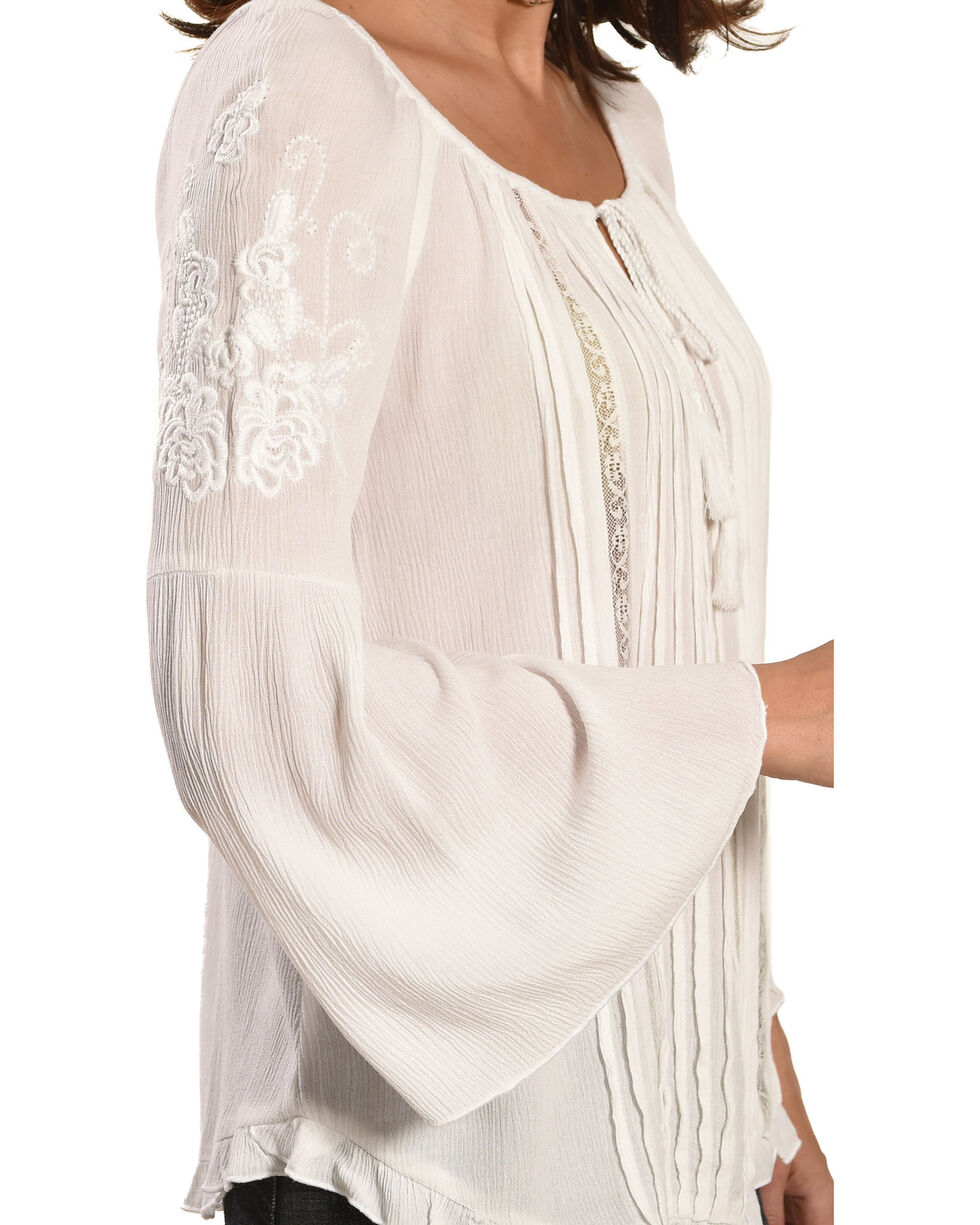 Bila Women's Embroidered Bell Sleeve Peasant Blouse , White, hi-res